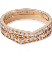 'antifer' diamond 18k rose gold double row ring