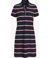 tommy hilfiger women's essential stripe split-neck polo dress masters navy multi - s