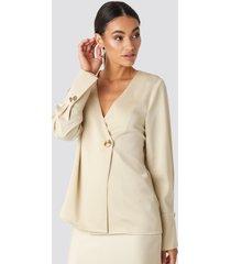 na-kd classic satin blouse - beige