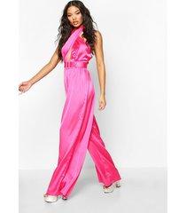 halterneck wide leg culotte jumpsuit, hot pink