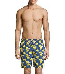 elephant-print swim shorts