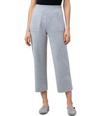 women's akris crop straight leg cashmere pants, size 6 - grey
