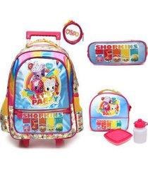 kit mochila com rodinhas shopkins rainbow com lancheira e estojo