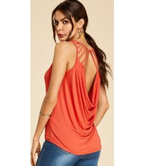 yoins naranja sin espalda diseño camiseta drapeada sin mangas holgada