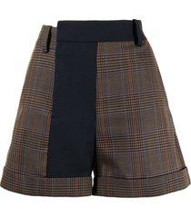 monse bi-colour plaid shorts - brown