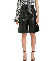 self-portrait faux leather bermuda shorts