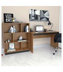 conjunto de mesa para notebook hype com estante de escritório darci preto e mel