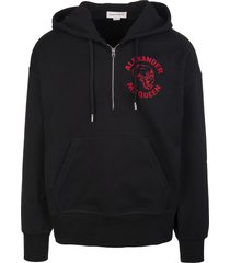 alexander mcqueen man black skull logo hoodie with half zip