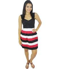 vestido negro rayas vt-00129