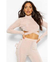 cut out textured slinky crop top, champagne