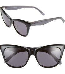 women's rebecca minkoff lark 54mm gradient cat eye sunglasses - black/ grey blue