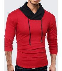 mens tough style contrast colore maglia a manica lunga con scollo a v