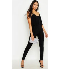 tall strappy frill overlay jumpsuit, black