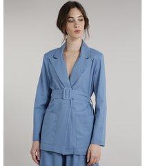 blazer feminino mindset longo transpassado com linho e cinto azul
