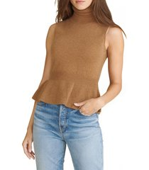 women's veronica beard noor sleeveless cashmere turtleneck sweater, size large - beige