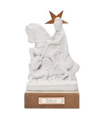 escultura decorativa são jorge em gesso - branco