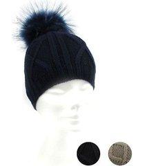 women bobble hat wool marini silvano raccoon fur, pompon 1575