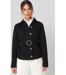 hanna weig x na-kd button down belted jacket - black