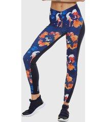 legging desigual camo flower azul - calce ajustado