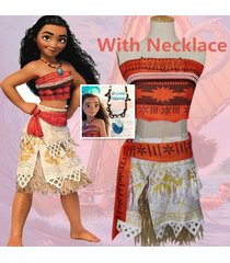 2017moana princess vaiana  fancy dress principessa cosplay costume with necklace