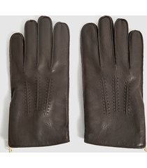 reiss iowa - leather zip detail gloves in brown, mens, size xl