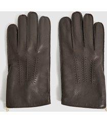 reiss iowa - leather zip detail gloves in brown, mens, size xl