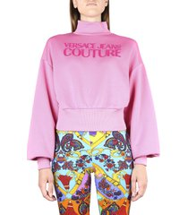 versace jeans couture orchid pink cotton sweatshirt with logo