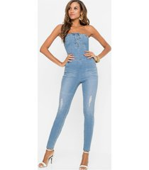 jeans jumpsuit met vetersluiting