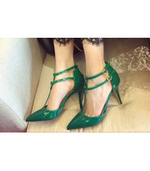 pp314 cutie t-type strappy pointy pump in candy color, us size 4-8.5 green