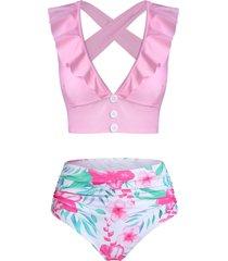 floral print ruffled cross back tankini swimwear