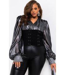 akira plus lacey bandage corset detail blouse