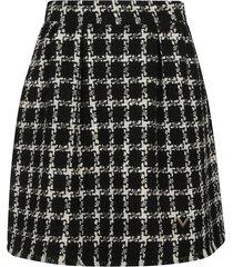 check logo mid-length skirt