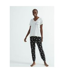 pijama blusa manga curta e calça jogger estampa gatinhos | lov | cinza | g