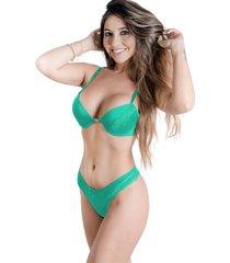 conjunto de calcinha e sutiã sigh nadador verde claro