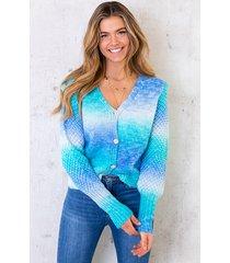 tie dye vest met patroon blauw