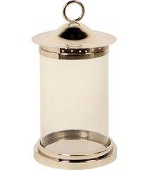 lanterna decorativa de aço inox e vidro nippon média