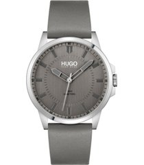 hugo men's #first gray leather strap watch 43mm
