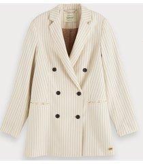 scotch & soda double-breasted pinstripe blazer