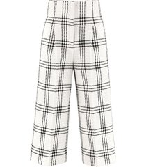 msgm checked tweed trousers