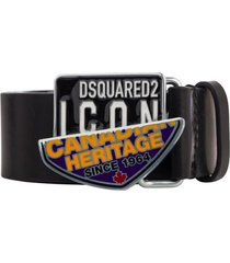 dsquared2 canadian icon black leather belt