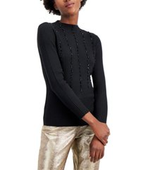 alfani beaded ribbed sweater, created for macy's