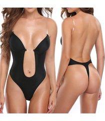 women's u plunge body suit backless thong bottom bridal shapewear