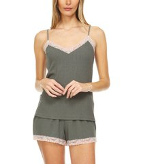 women's flora nikrooz lou lou pointelle lace trim camisole pajamas, size medium - green