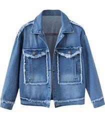 plus size frayed patchwork denim jacket