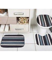 jogo de banheiro tapetes jr onix pop 3 peças preto