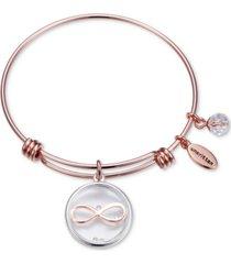 unwritten infinity glass shaker charm adjustable bangle bracelet in rose gold-tone stainless steel