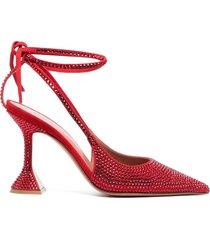 amina muaddi karma embellished ankle-tie pumps - red
