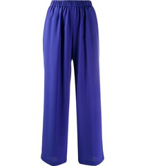 aspesi high-waisted silk trousers - blue