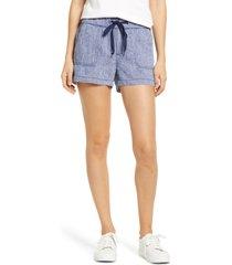 caslon(r) tie waist linen shorts, size xx-large in navy crossdye at nordstrom