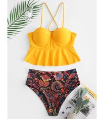 lace-up paisley print underwire tankini swimsuit